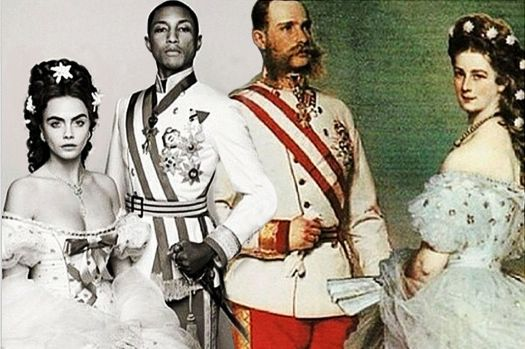 Pharrell and Cara as Emperor Franz Joseph and Empress Elizabeth of Ausria (left), next to portrait of the actual Imperial couple (right) (Photo credit: google images.)
